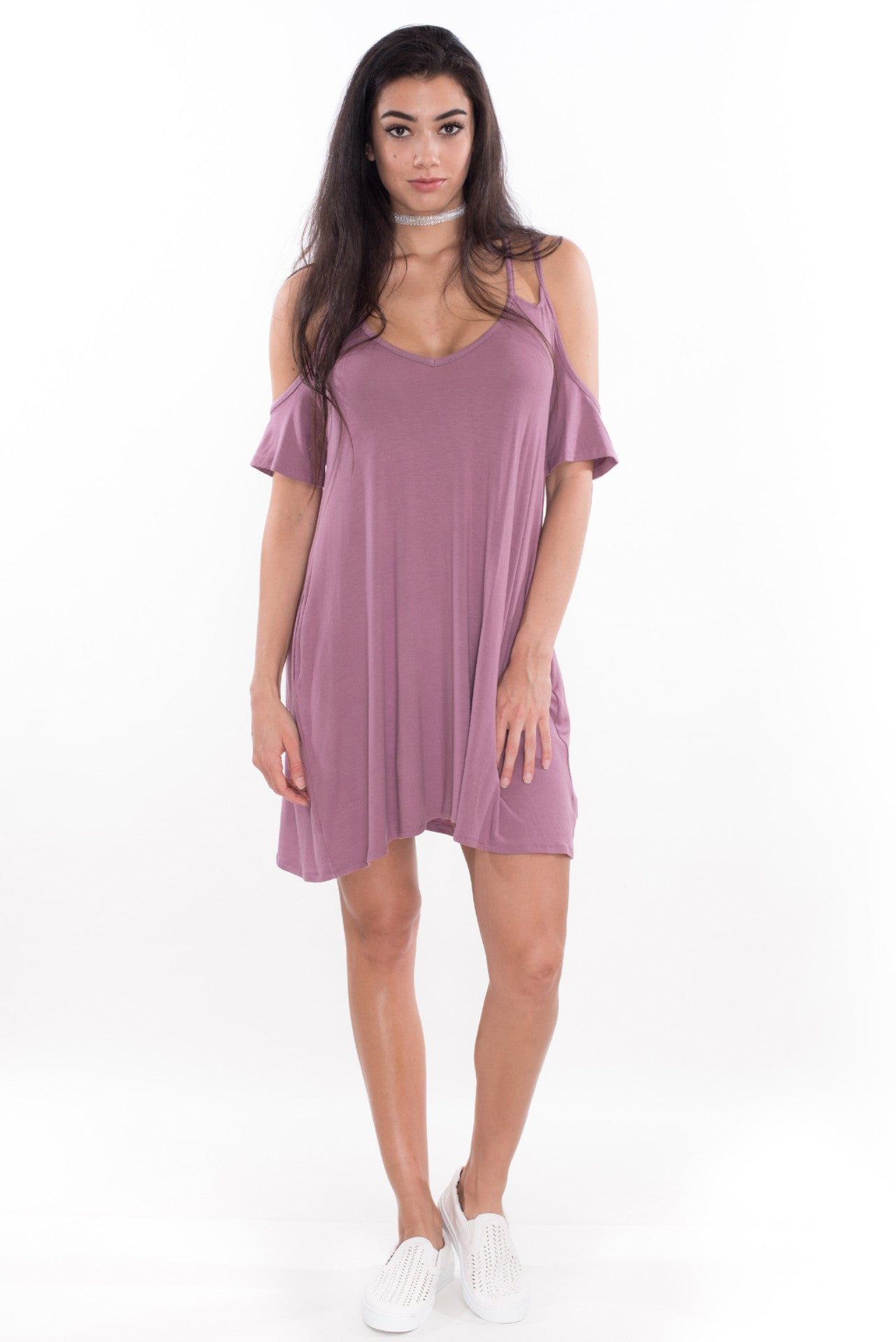 mauve shirt dress