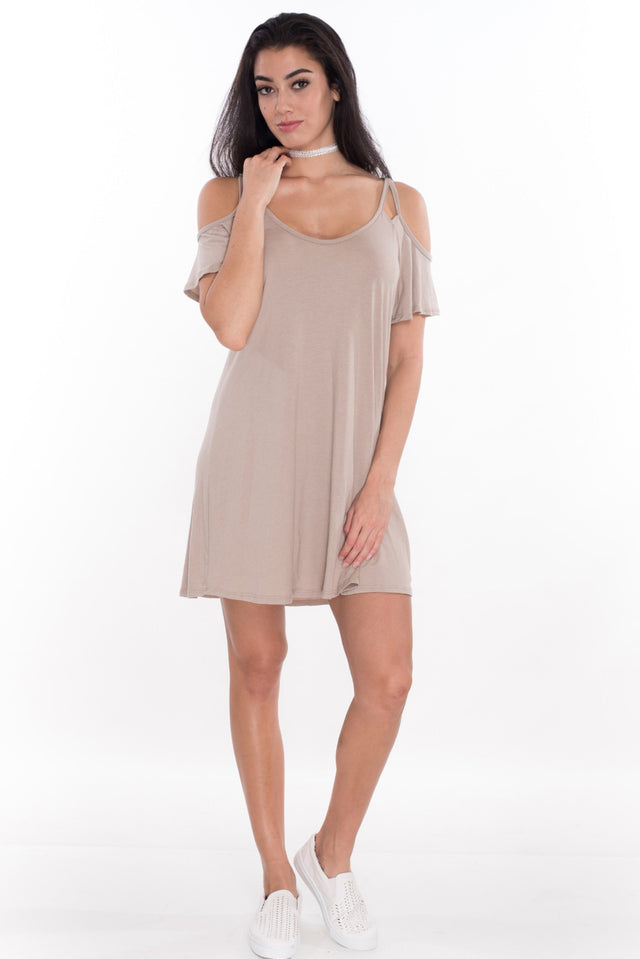 Sweetheart Tee Shirt Dress - Latte