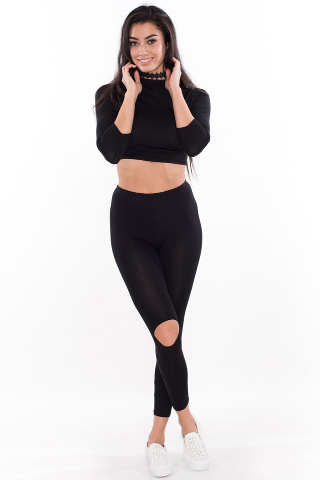 Crop Top + Slit Leggings Set - Black