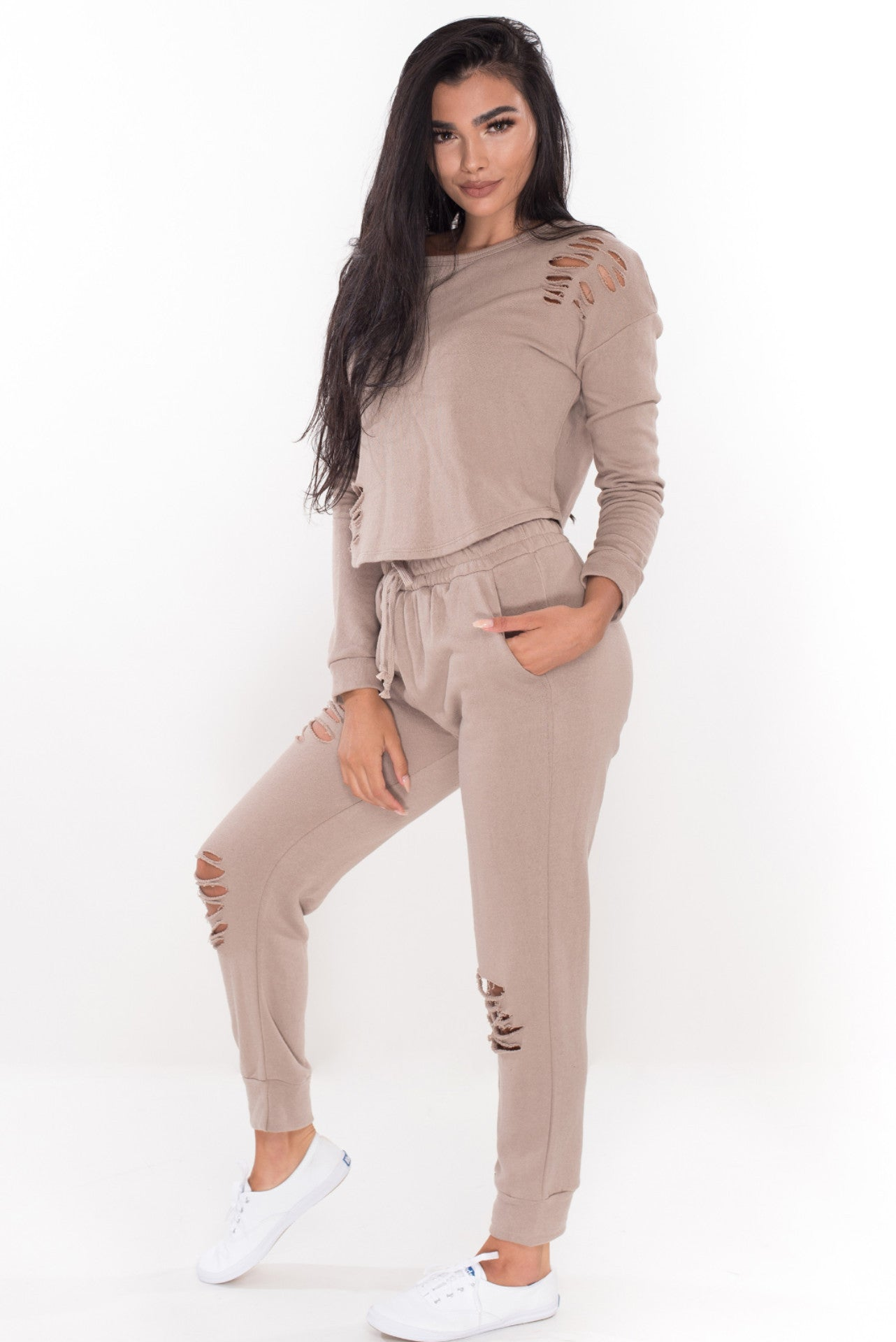 Baby Girl Sweat Pants - Khaki