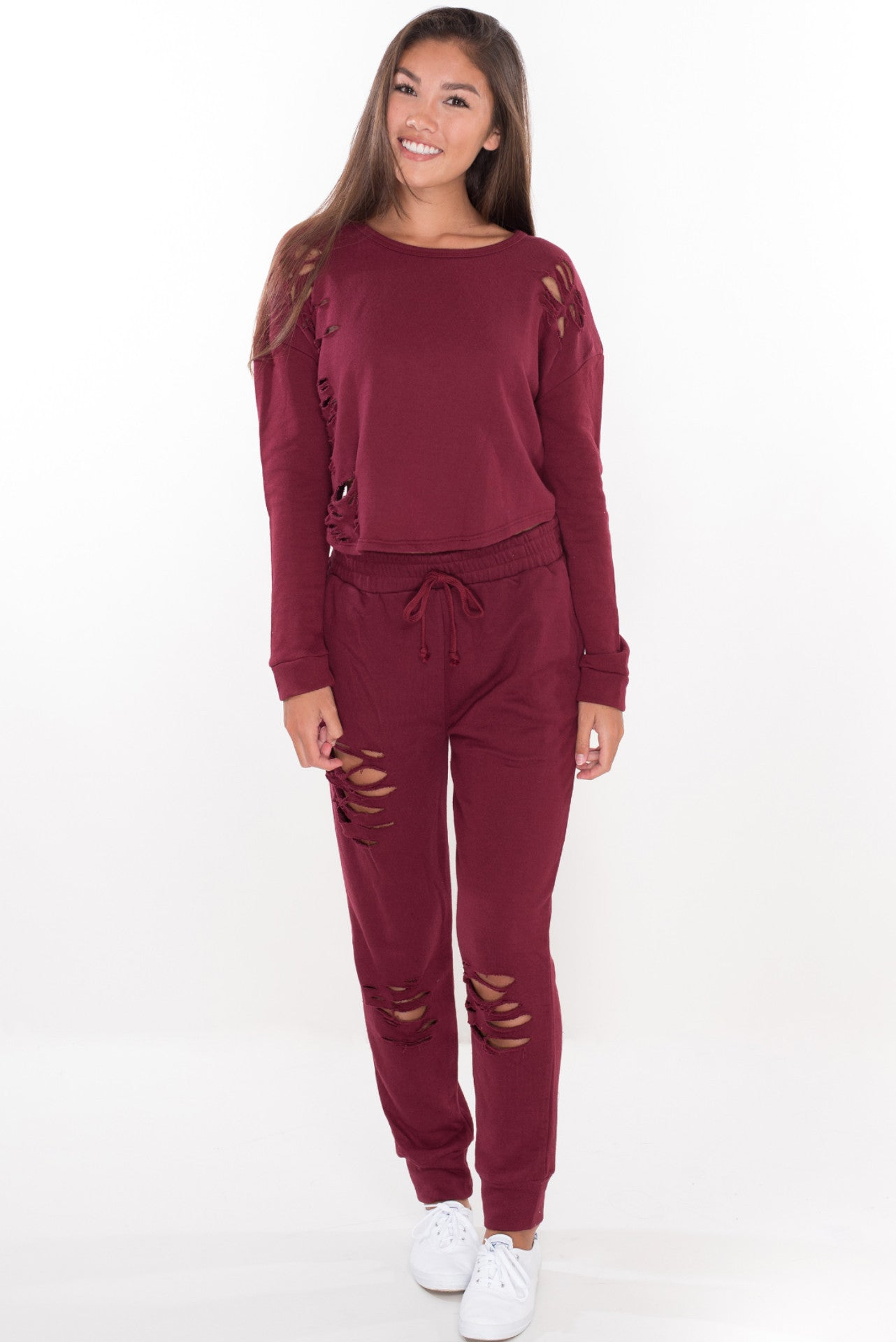 Baby Girl Sweat Pants - Burgundy