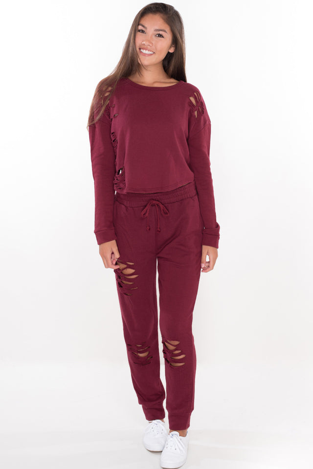 Baby Girl Sweat Shirt - Burgundy