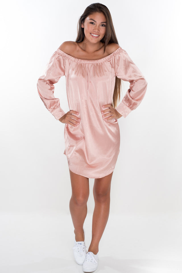 Your Dream Girl Satin Dress - Dusty Pink