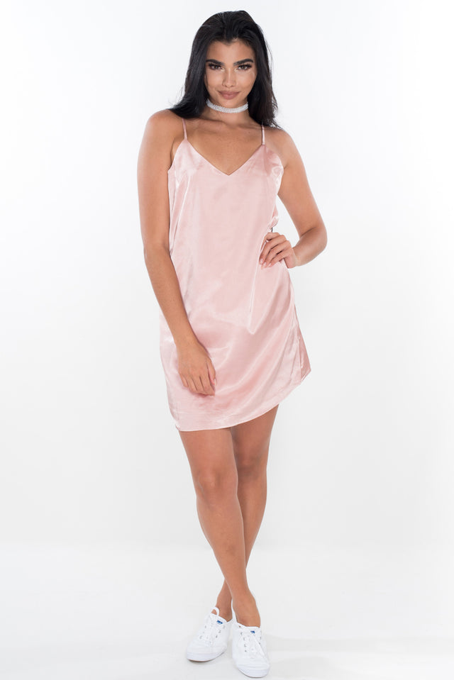 Love Me Not Satin Slip - Dusty Pink