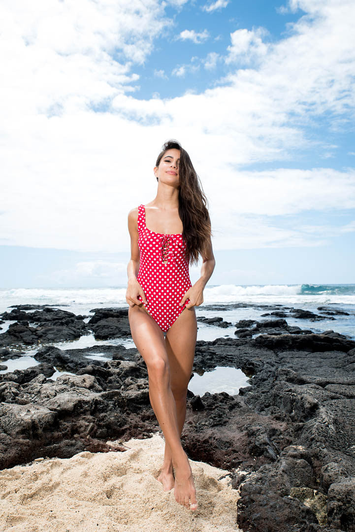 Lace Up One Piece // Red Dotty