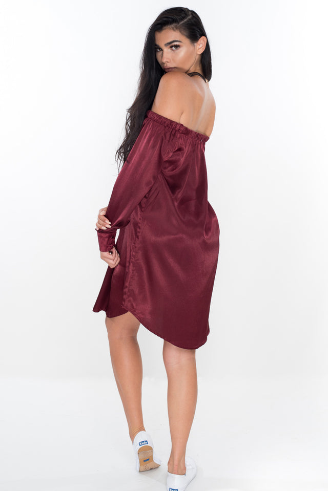 Your Dream Girl Satin Dress - Burgundy