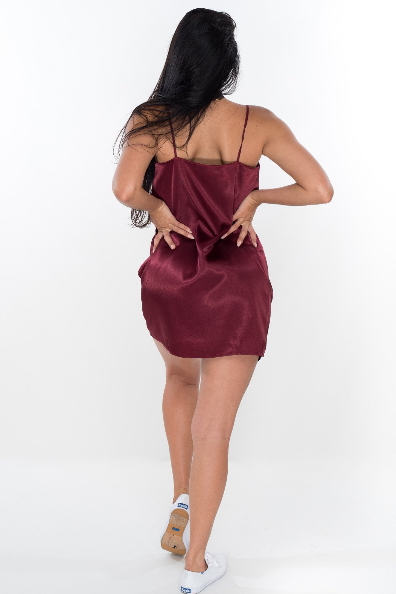 Love Me Not Satin Slip - Burgundy