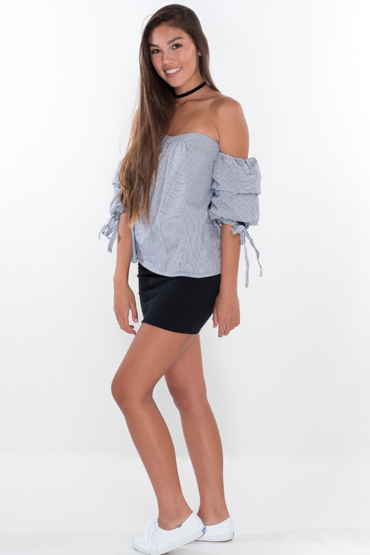 Sweetheart Striped Top - White + Navy