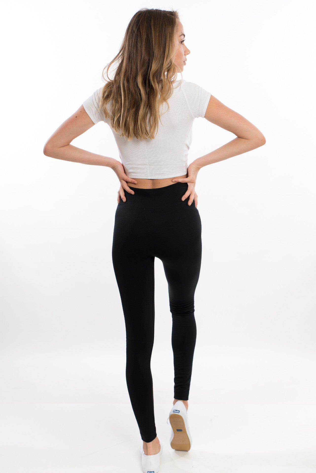 High Waist Fleece Leggings - Black