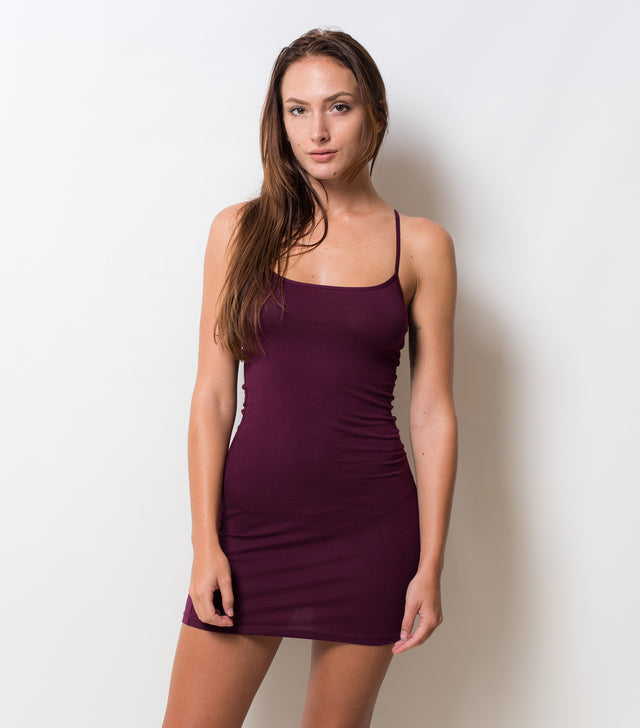 Necessary Spaghetti Strap Dress - Burgundy