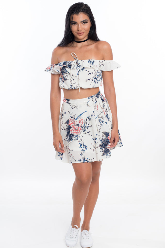 Over the Shoulder Tulip Skirt Set - Light Floral