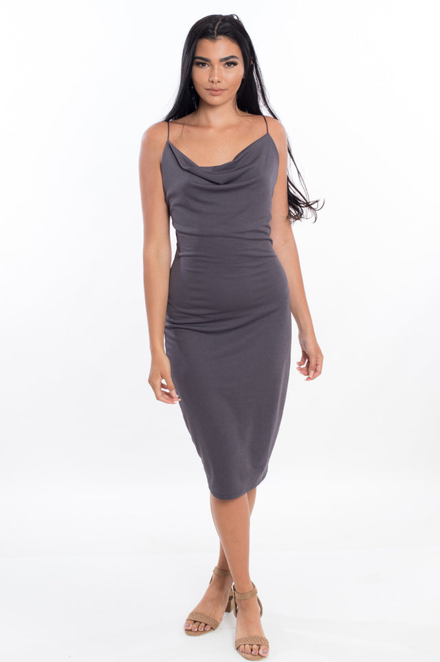 Lady Boss Cowl Neck Dress - Available in 4 colors