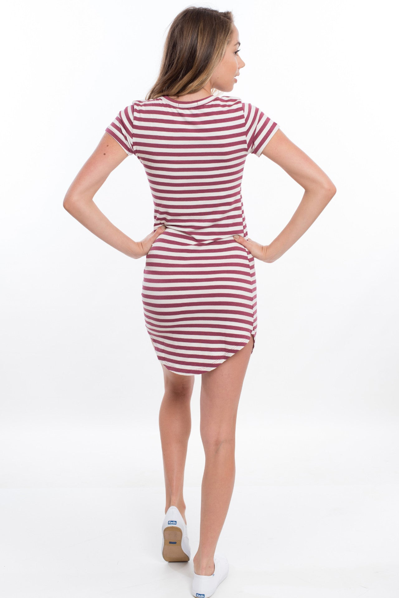 Short Sleeve Stripe Tee Dress - Red