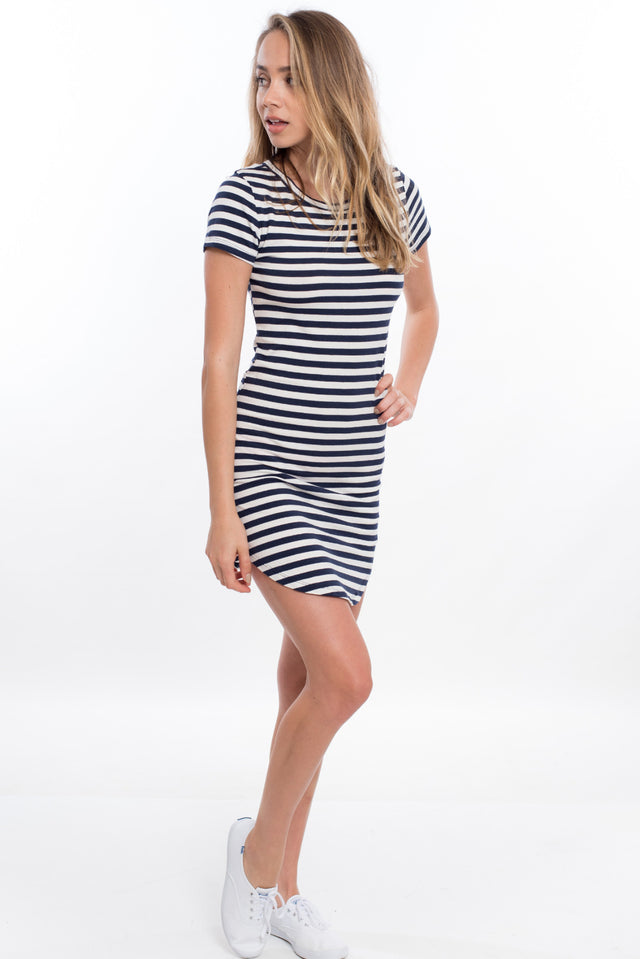 Short Sleeve Stripe Tee Dress - Navy