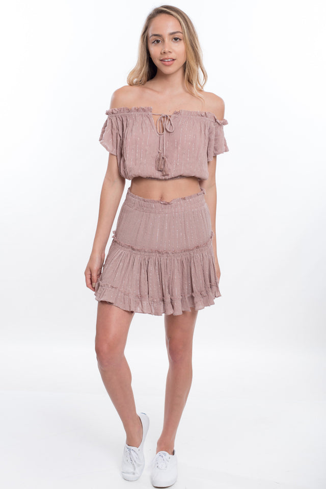 Crop Top Swing Skirt Set - Sable