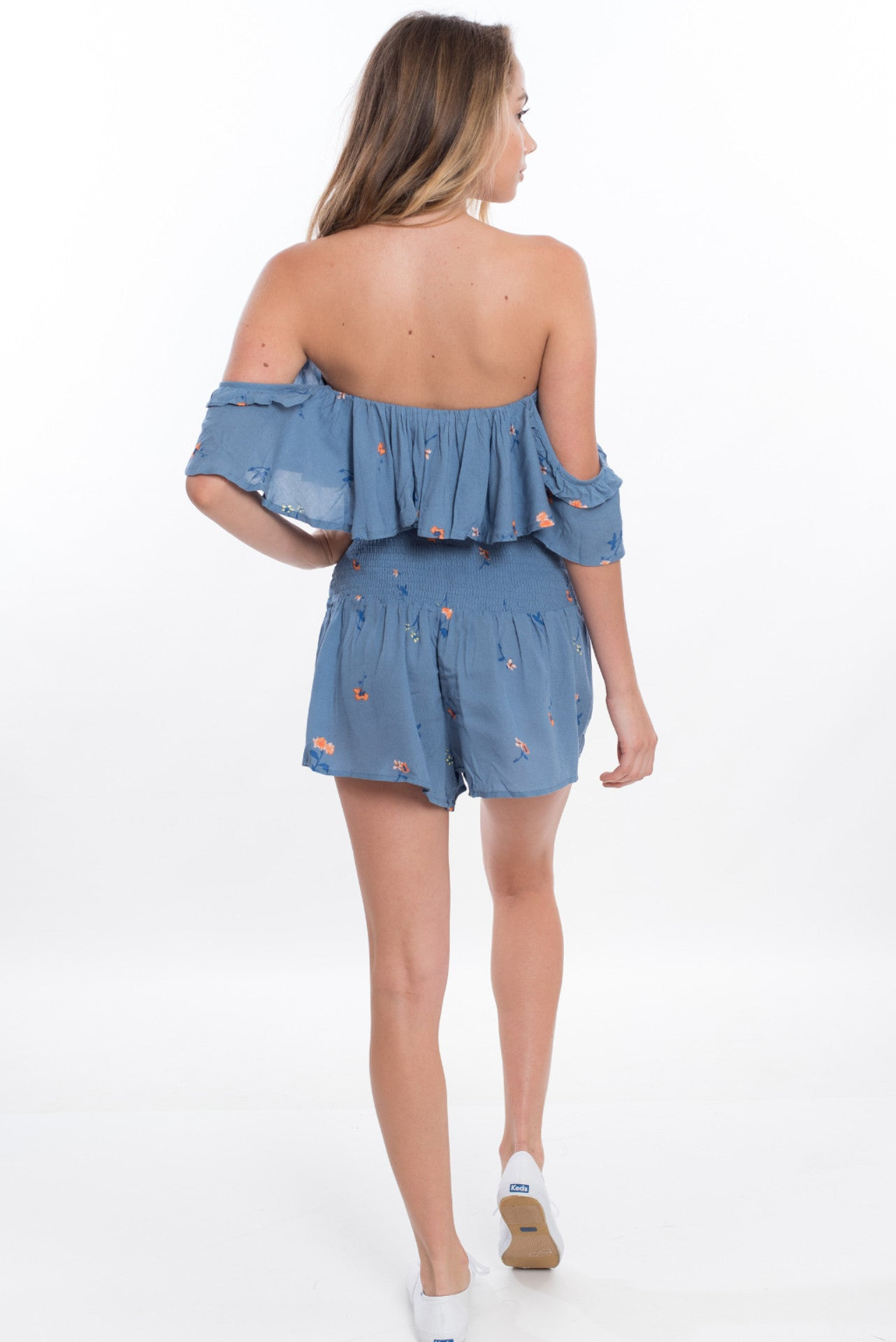 Off the Shoulder Short Set - Blue