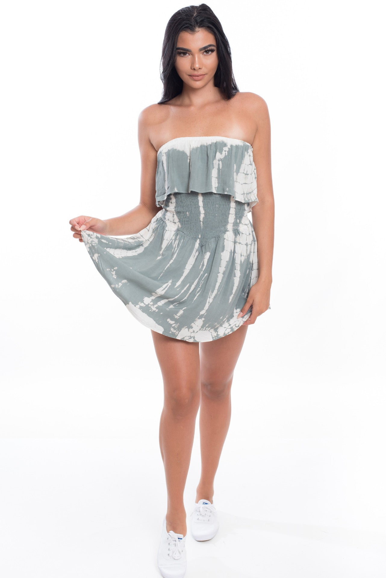 Sleeveless Smocked Romper - Gray