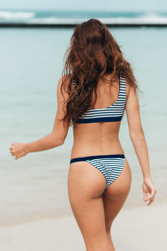 Banded Cheeky Bottom // Navy Stripe