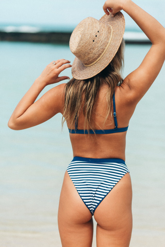 High Cut Cheeky Bottom // Navy Stripe