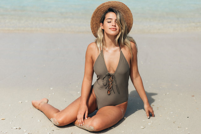 Lace Up One Piece // Taupe