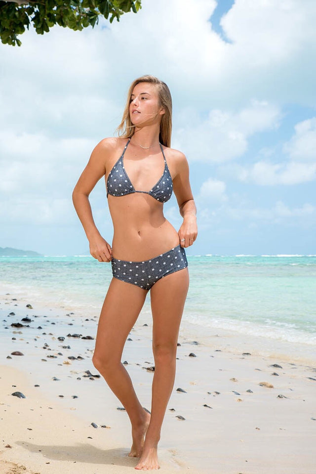 Classic triangle top + boy shorts bottoms // Polka dots // by Beach Joy