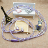 Fashionable Jewelry pearl Necklace Earphones with Mic Beads