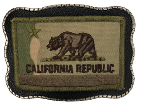 Camo California Flag Patch on Leather