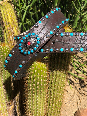 Brown Belt with Turquoise Studs