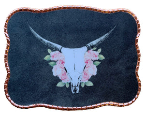 Pink Roses Cow Skull Black Version