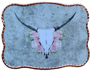 Pink Roses Cow Skull