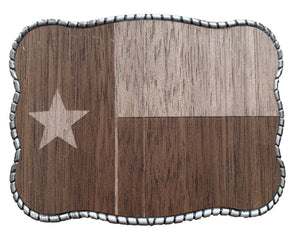 Laser Etched Walnut Wood Texas Flag
