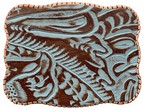 Embossed Turquoise Leather