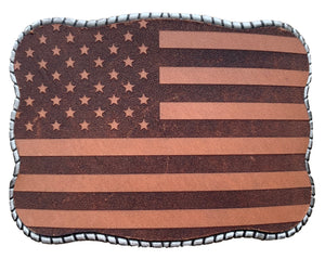 Laser Etched Leather Flag
