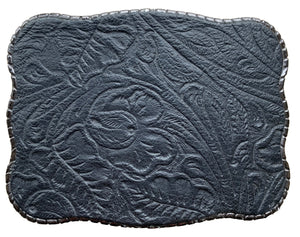 Black Floral Embossed Leather