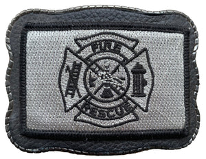 Fire Dept Patch on Leather