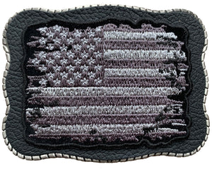 Grayscale Tattered Flag Patch on Leather