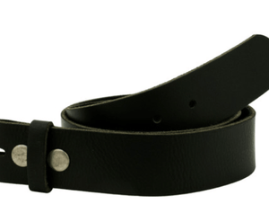 Full Grain Black Leather Belt - Wallet Buckle