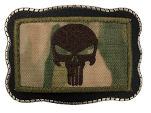 Punisher Skull Camo Patch on Leather