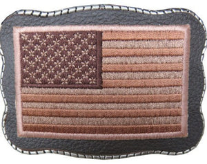 Tan Flag Patch on Leather - Wallet Buckle