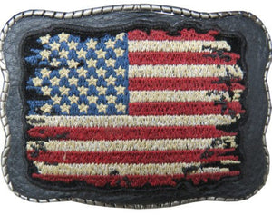 Tattered Flag Patch on Leather - Wallet Buckle
