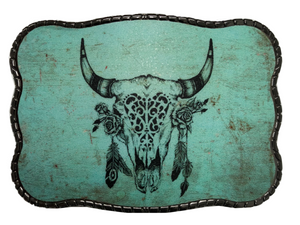 Turquoise Cow Skull with Feathers