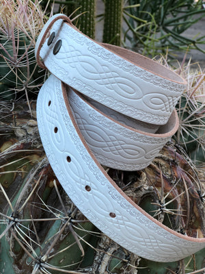 White Detailed Leather Belt