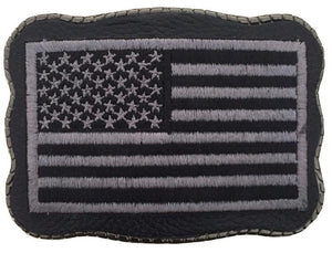 Black & Grey Flag Patch on Leather