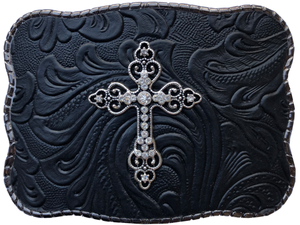 Black embossed with Cross Pendant