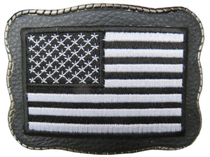 Black & White Flag Patch on Leather - Wallet Buckle