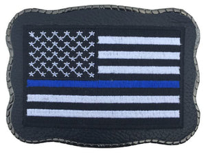 Blue Line Patch on Leather