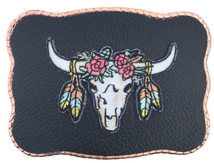 Boho Patch on Black Leather
