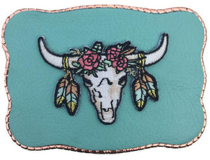Boho Patch on Turquoise Leather