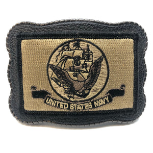 Navy Patch on Leather