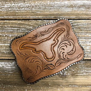 Hand Tooled Leather - Longhorns #2